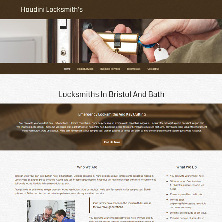 UK Website builder templete Houdini locksmith's