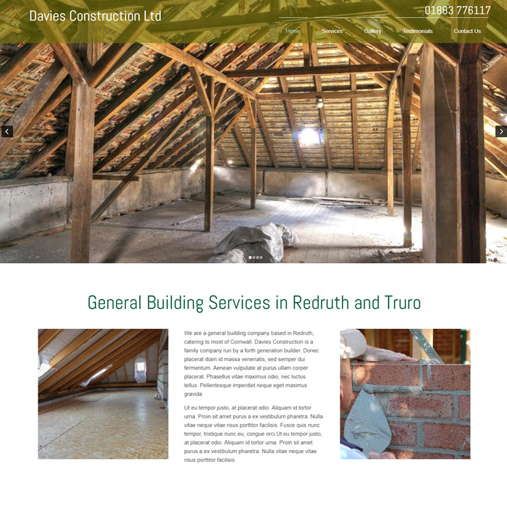 UK Website builder templete Davies Construction