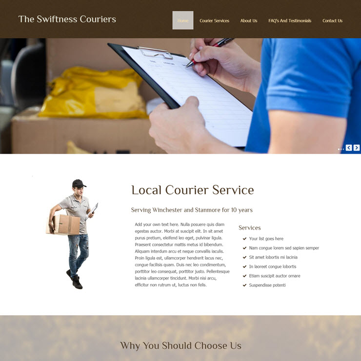 UK Website builder templete The Swiftness Couriers