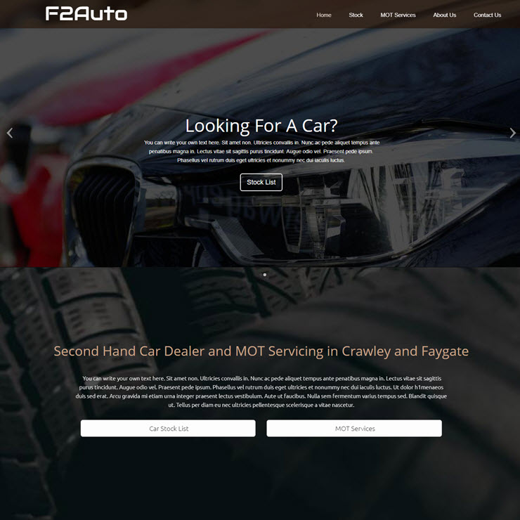 UK Website builder templete F2Auto Car Dealership