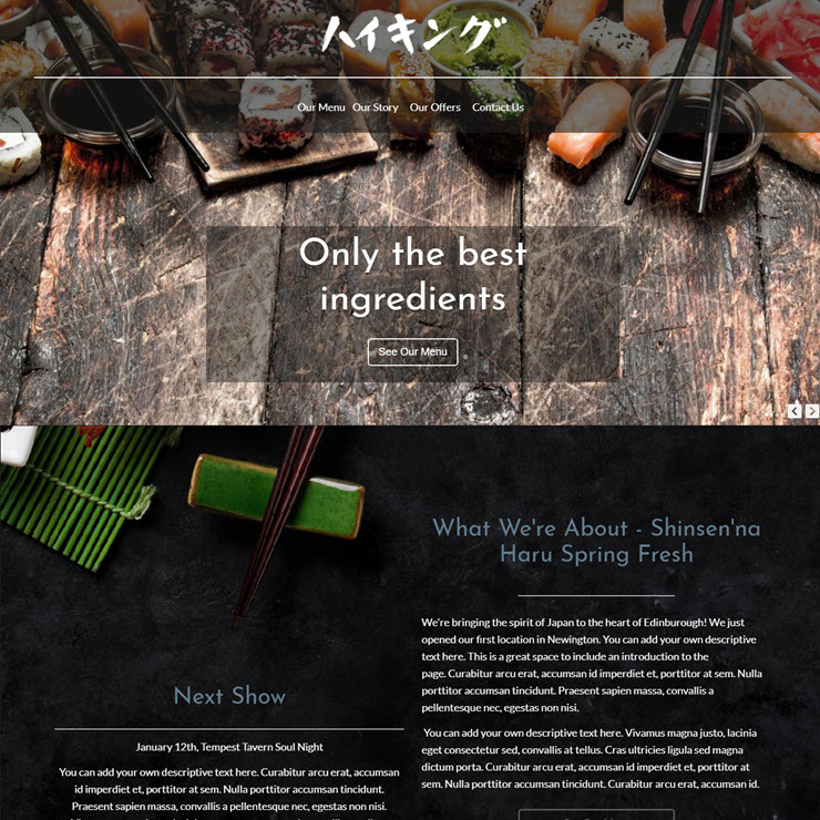 UK Website builder templete Haru Sushi