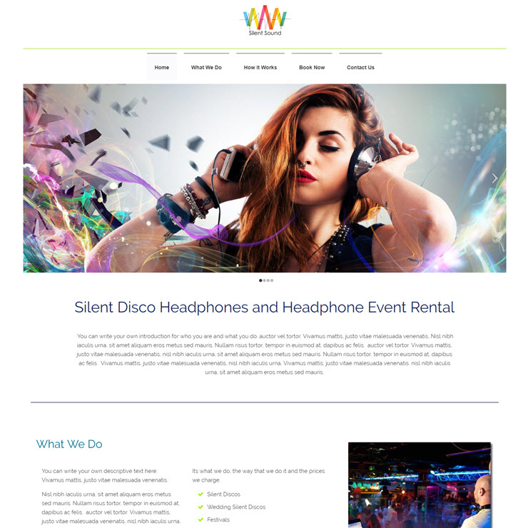 UK Website builder templete Silent Disco Hire Template