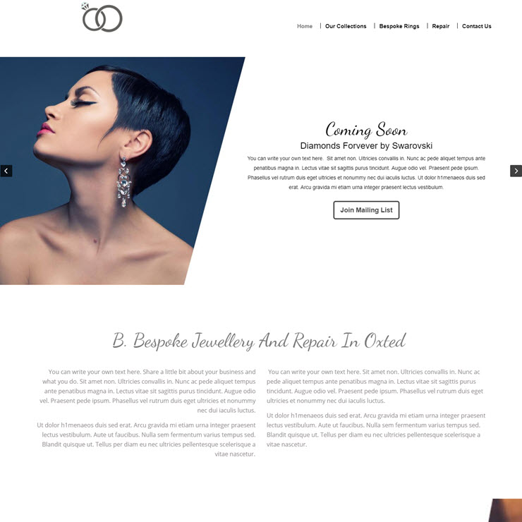UK Website builder templete B.Bespoke Jewellers