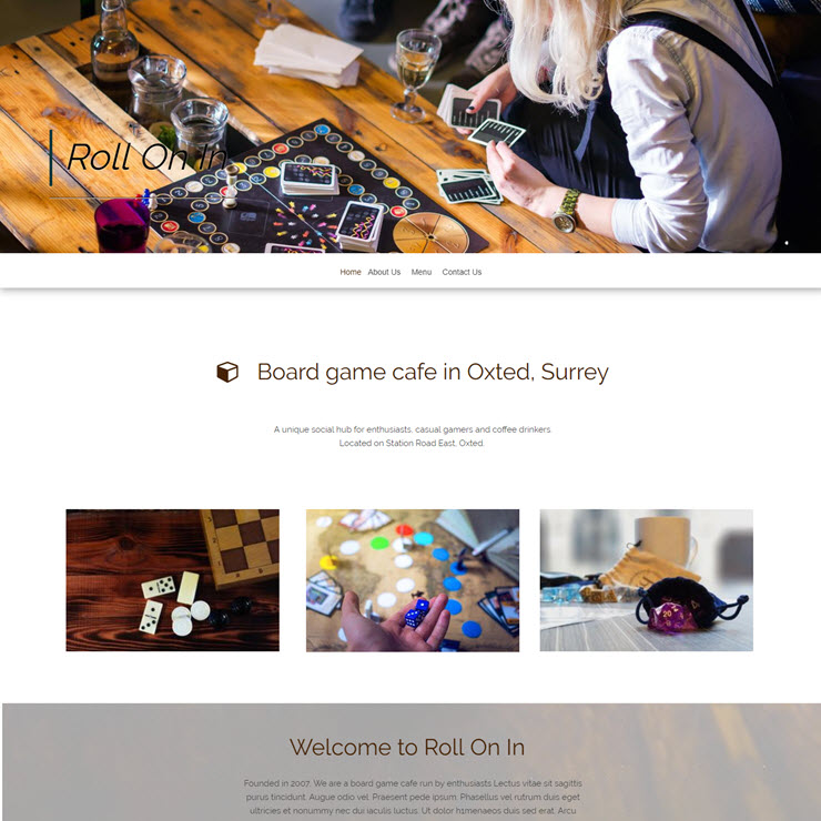 UK Website builder templete Board Game Cafe