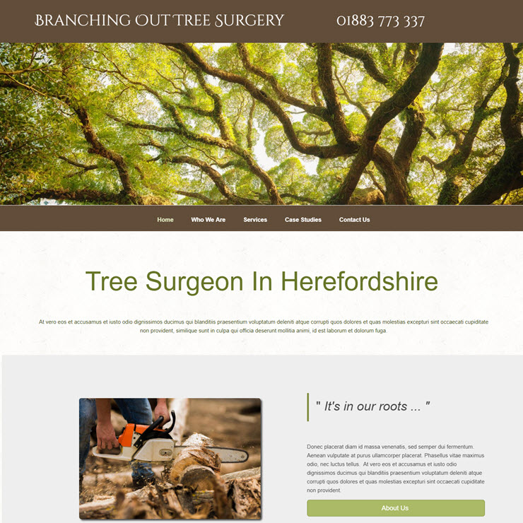 UK Website builder templete Branching Out Tree Surgery