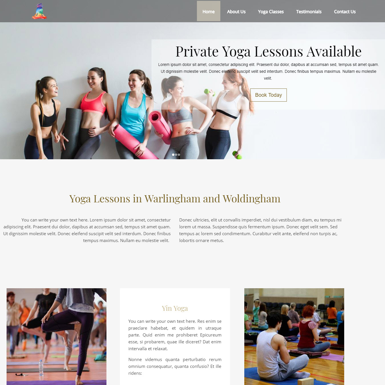 UK Website builder templete Yin Yoga