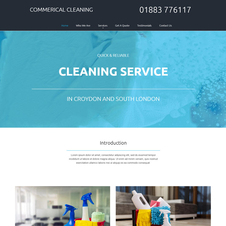 UK Website builder templete Serene Kean Commercial Cleaners