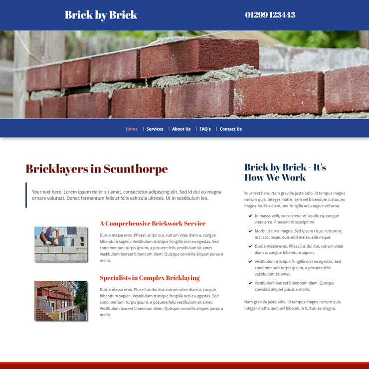 UK Website builder templete Brick by Brick Bricklayers