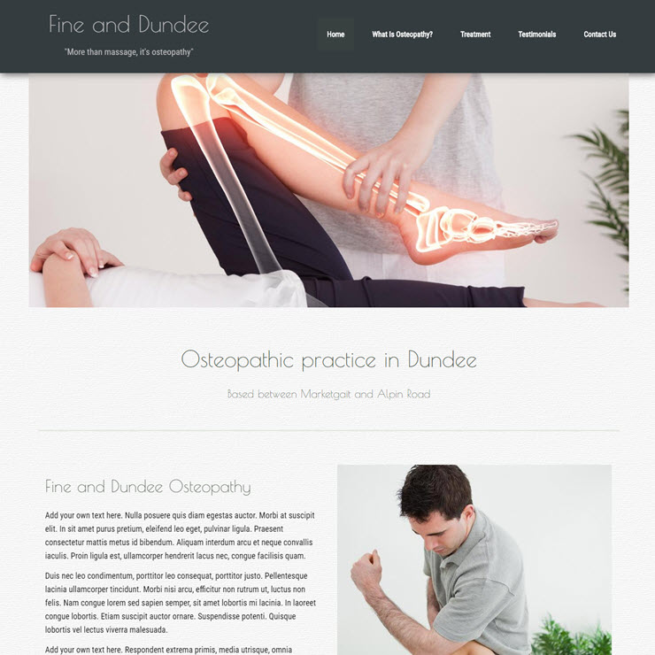 UK Website builder templete Fine and Dandee Osteopathy