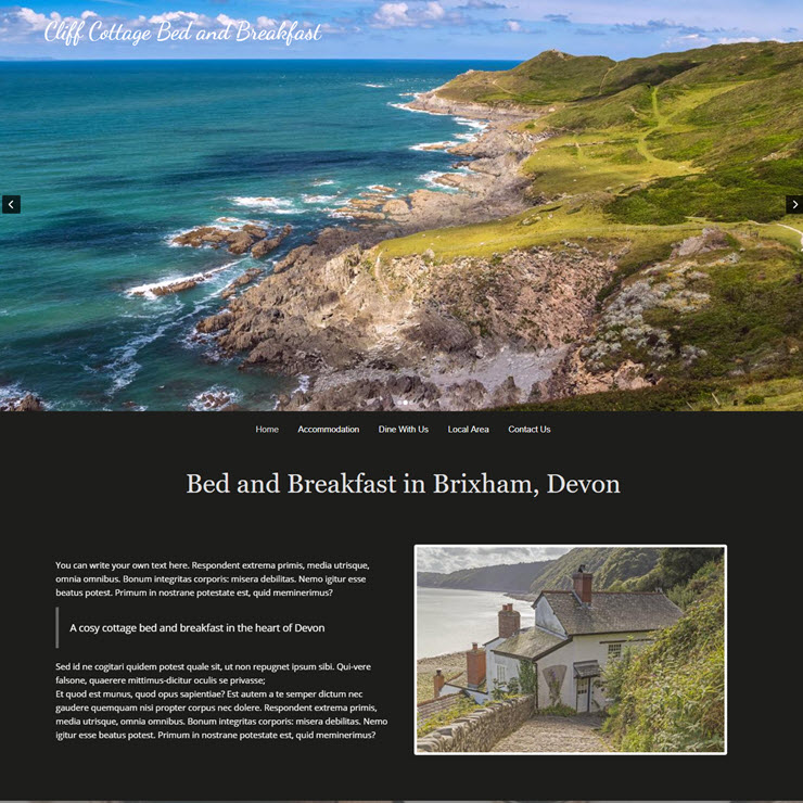 UK Website builder templete Cliff Cottage Bed and Breakfast