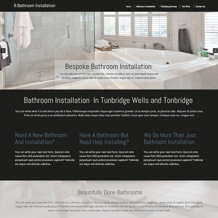 UK Website builder templete Bespoke Bathroom Installation