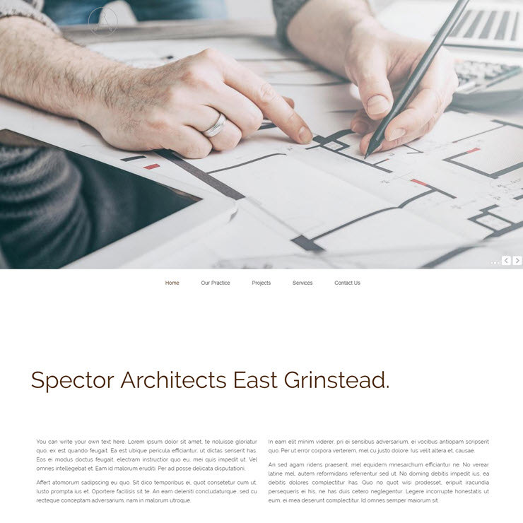 UK Website builder templete Spector Architects