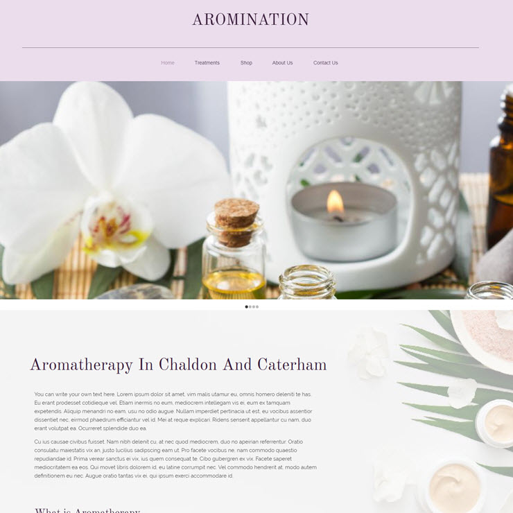 UK Website builder templete Aromination Aromatherapy