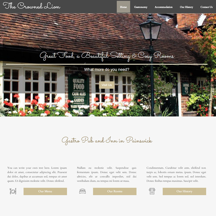 UK Website builder templete The Crowned Lion Gastropub & Inn