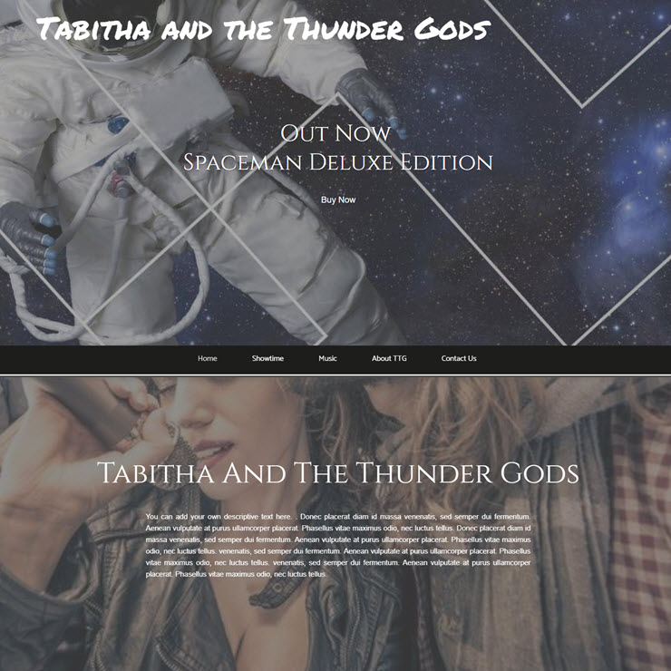 UK Website builder templete Band - Tabitha and the Thunder Gods