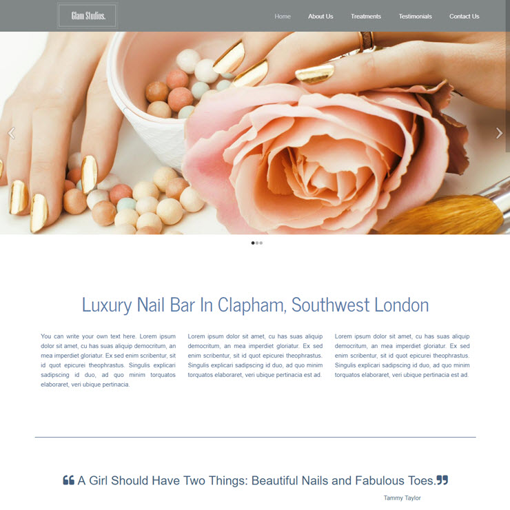 UK Website builder templete Nail Bar Glam Studios