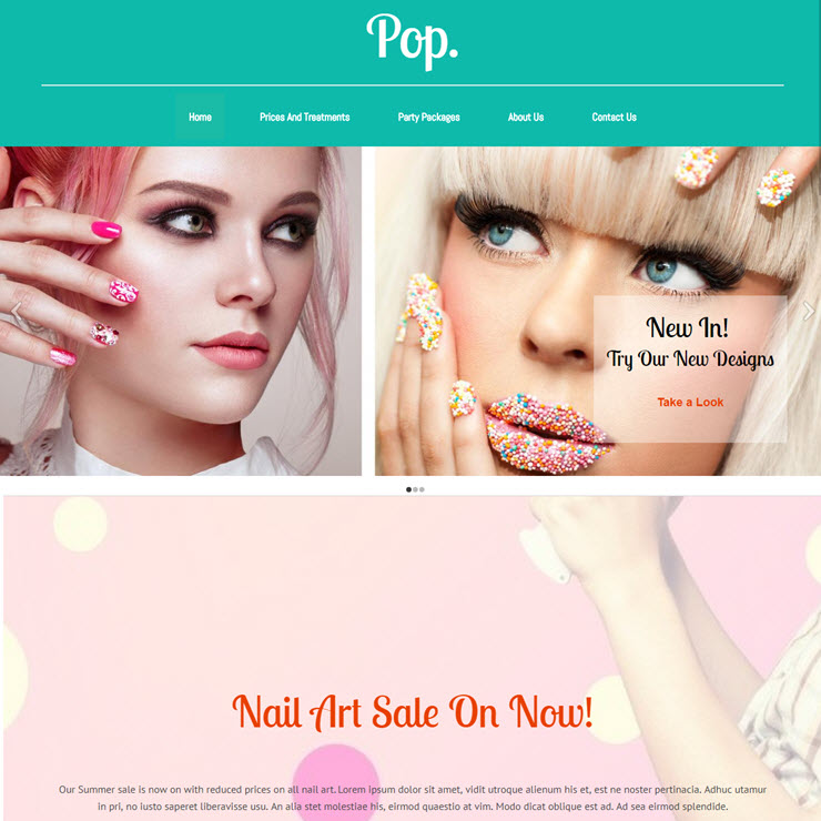 UK Website builder templete POP. Nail Bar