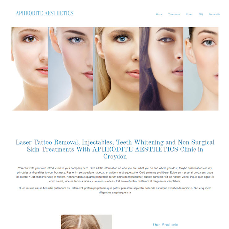 UK Website builder templete Aphrodite Aesthetics Clinic