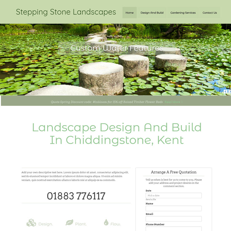 UK Website builder templete Stepping Stone Landscapes