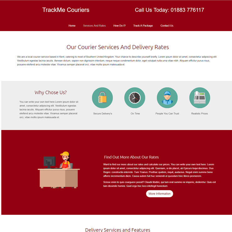 UK Website builder templete TrackME Courier Services
