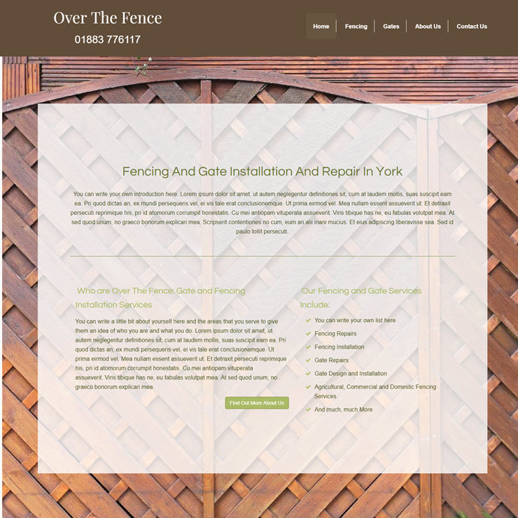 UK Website builder templete Over the Fence - Fencing and Gates