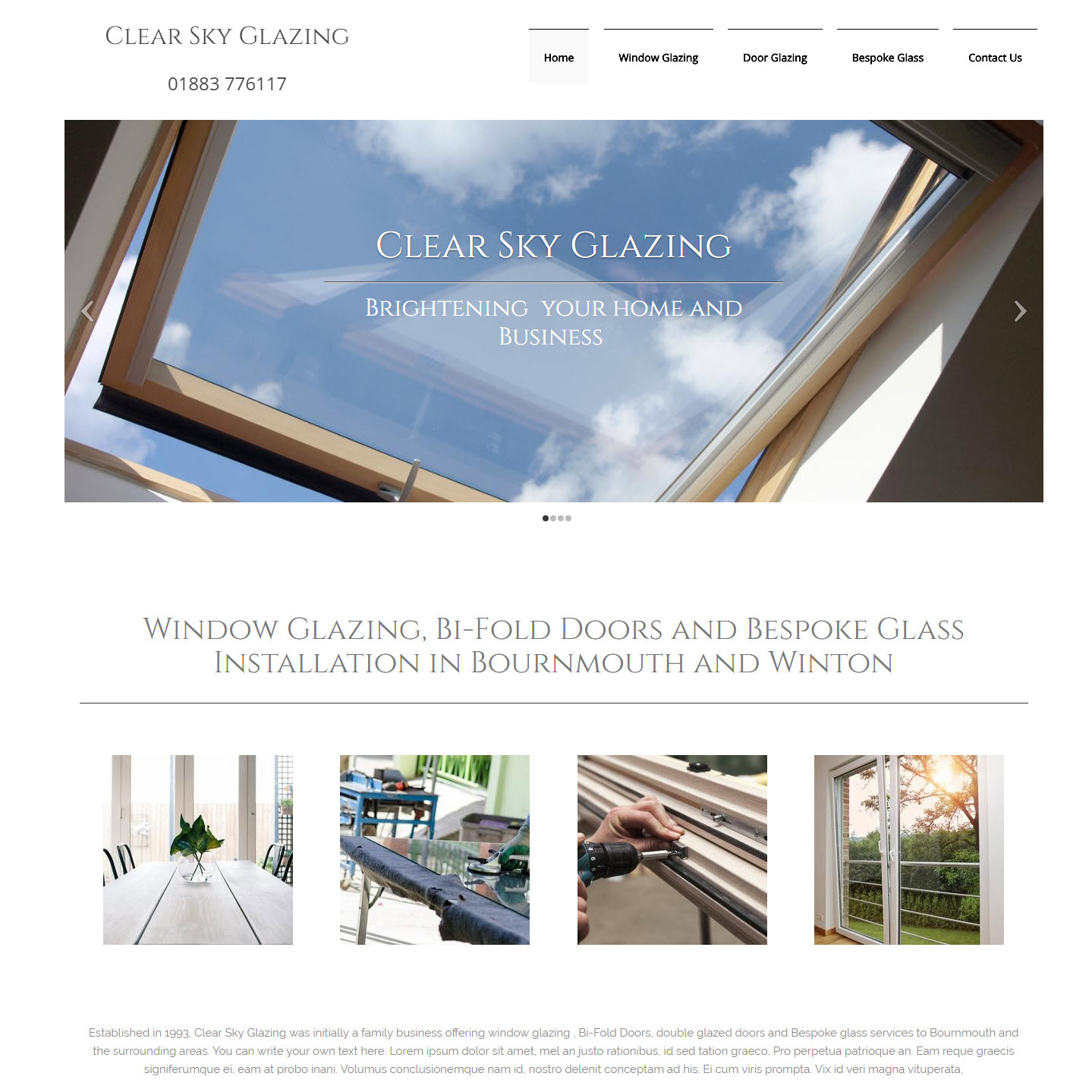 UK Website builder templete Clear Sky Glazing