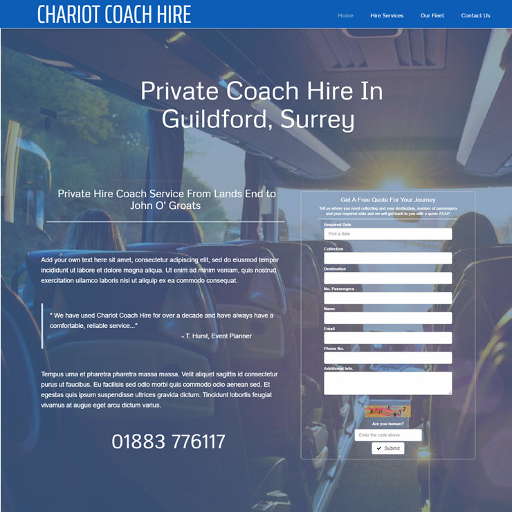 UK Website builder templete Chariot Coach Hire