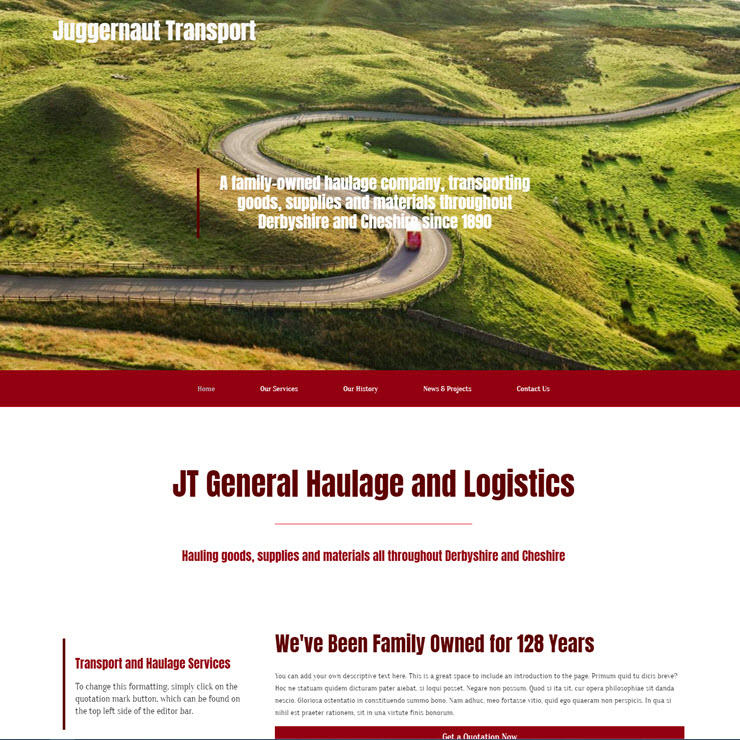 UK Website builder templete Juggernaut Transport Truck Haulage
