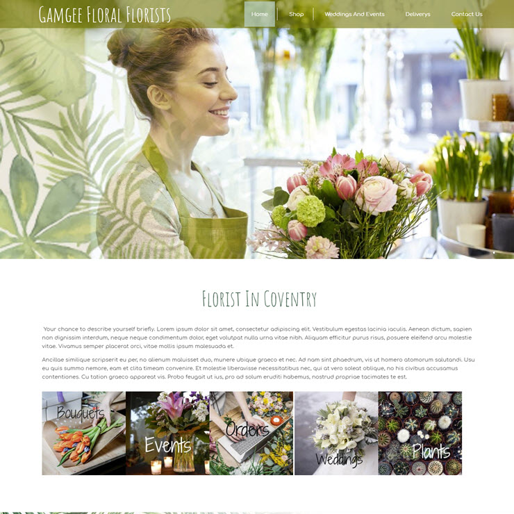 UK Website builder templete Gamgee Floral Florists