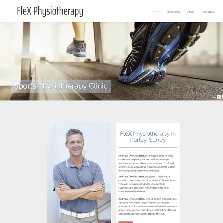 UK Website builder templete FleX Sports Physiotherapy