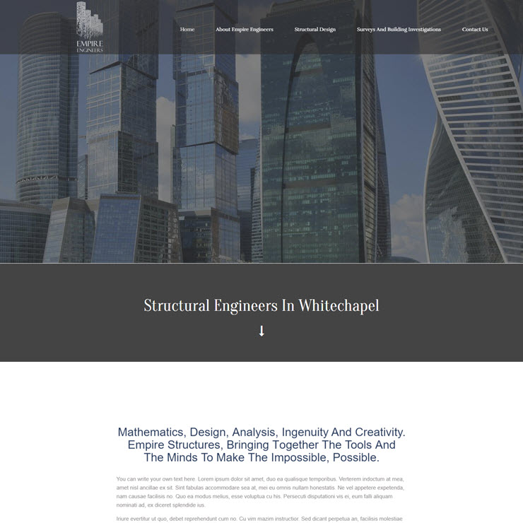 UK Website builder templete Empire Structural Engineers