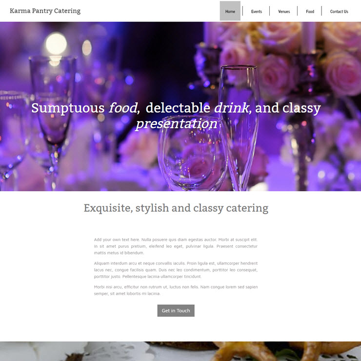 UK Website builder templete Karma Pantry Catering