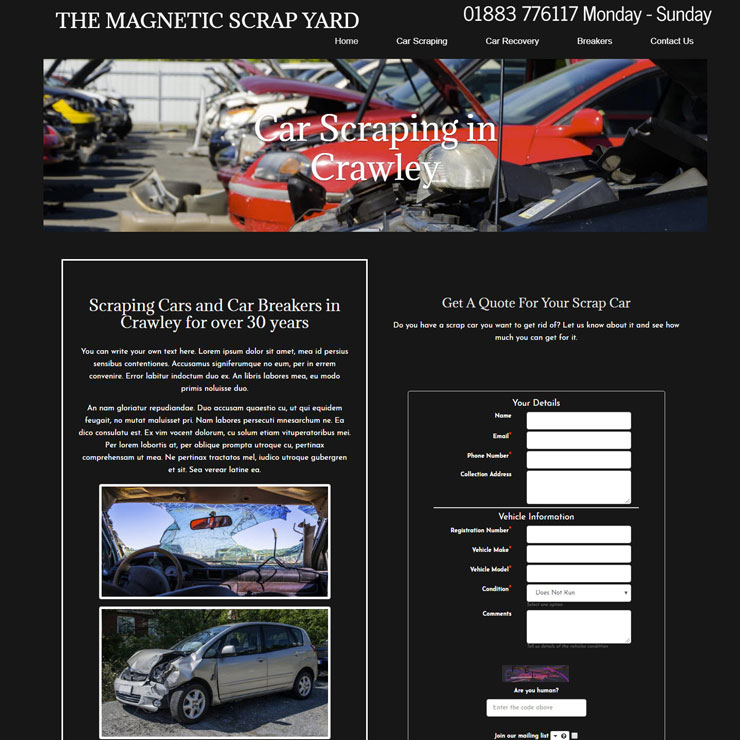 UK Website builder templete Magnetic Scrap