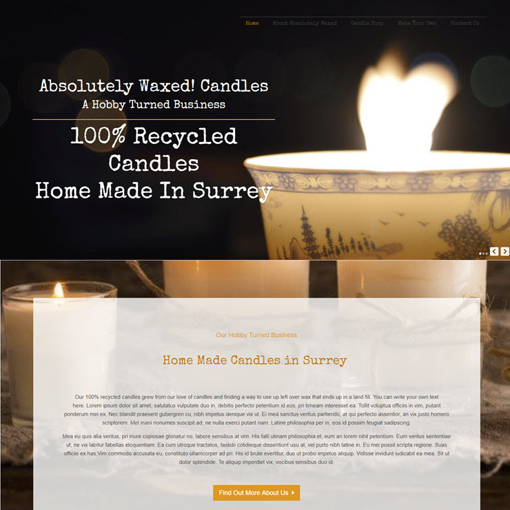 UK Website builder templete Absolutely Waxed Candles