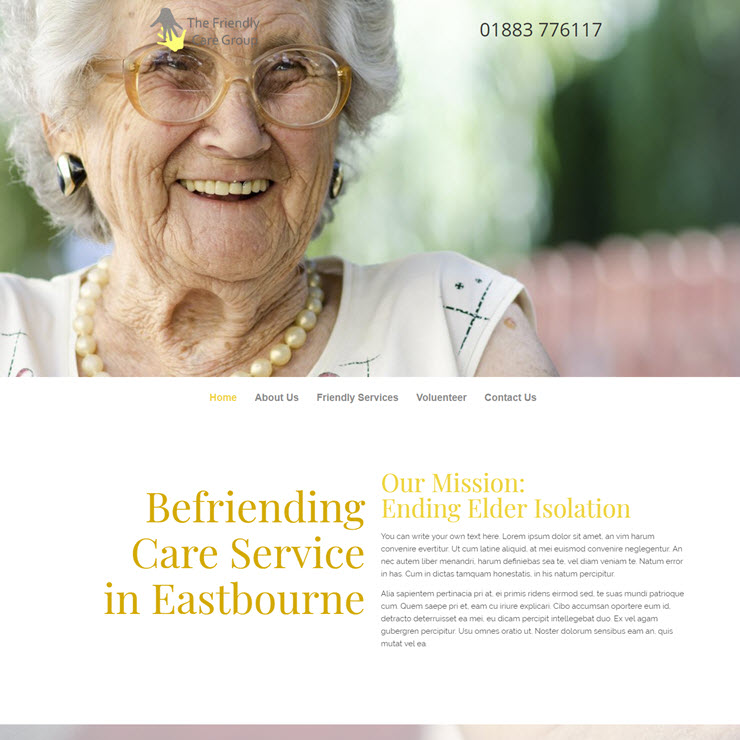 UK Website builder templete The Friendly Care Group