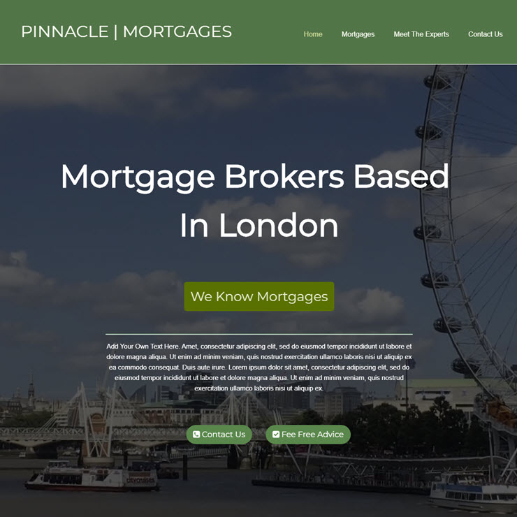 UK Website builder templete Pinnacle Mortgages