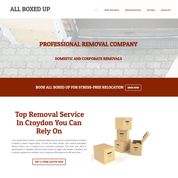 UK Website builder templete All Boxed Up Removals