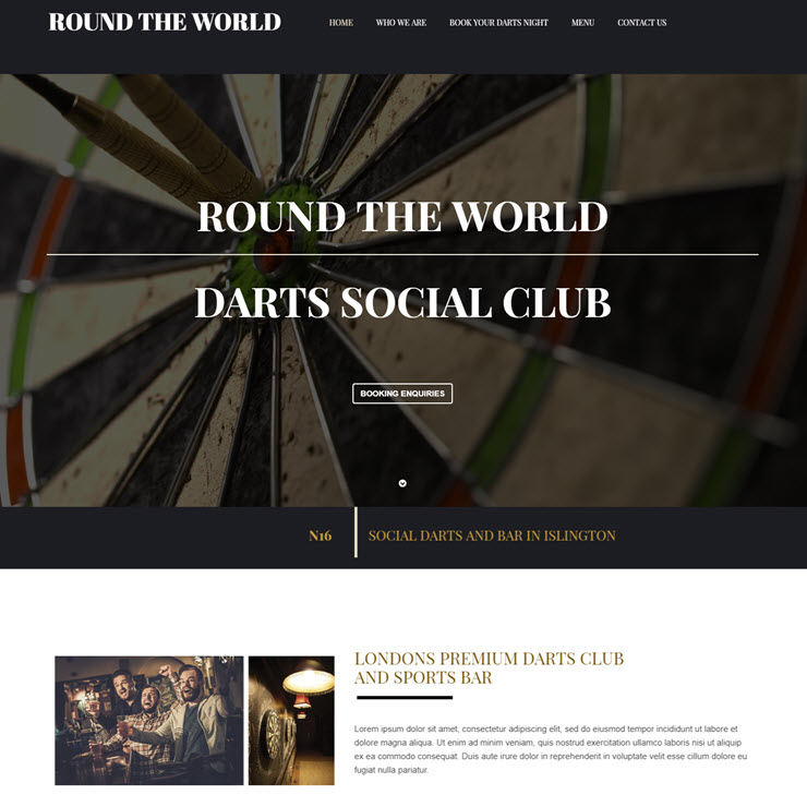 UK Website builder templete Round The World Darts Club