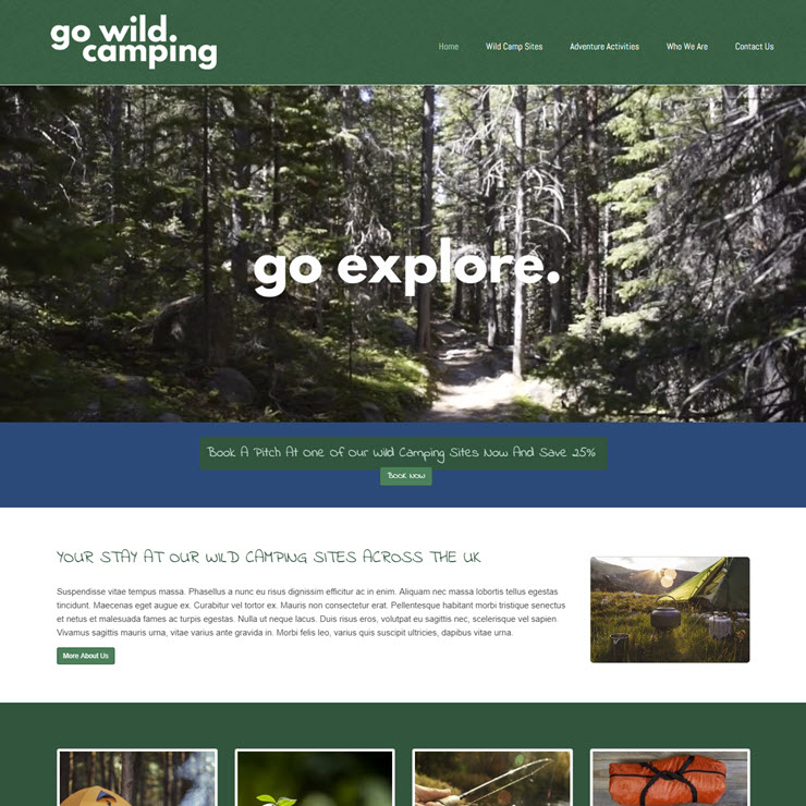 UK Website builder templete Go Wild Camping