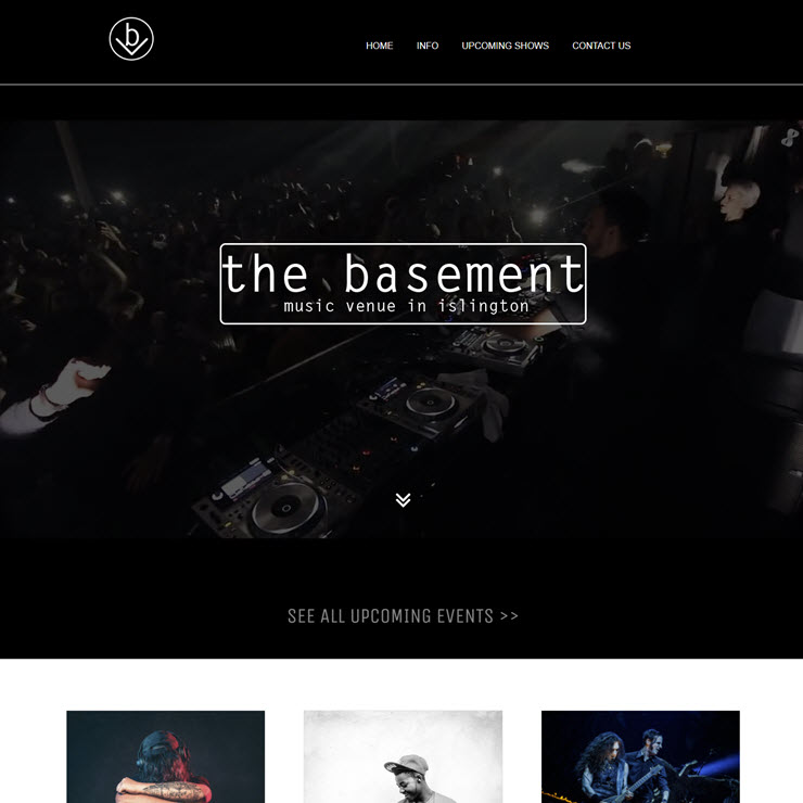 UK Website builder templete The Basement - Music Venue