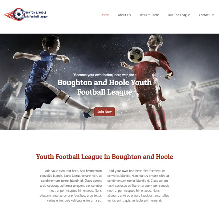 UK Website builder templete Boughton & Hoole Youth FL