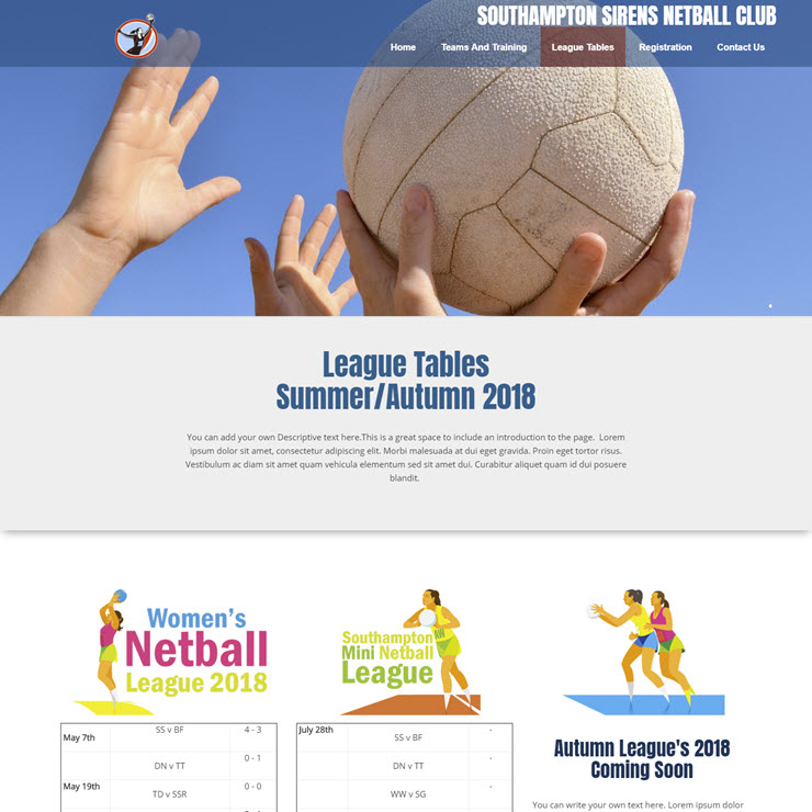UK Website builder templete Southampton Sirens Netball