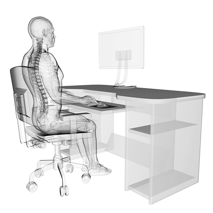 Spine with correct posture and computer workstation ergonomic setup