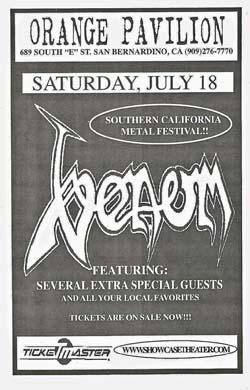 venom black metal flyer 1998 california