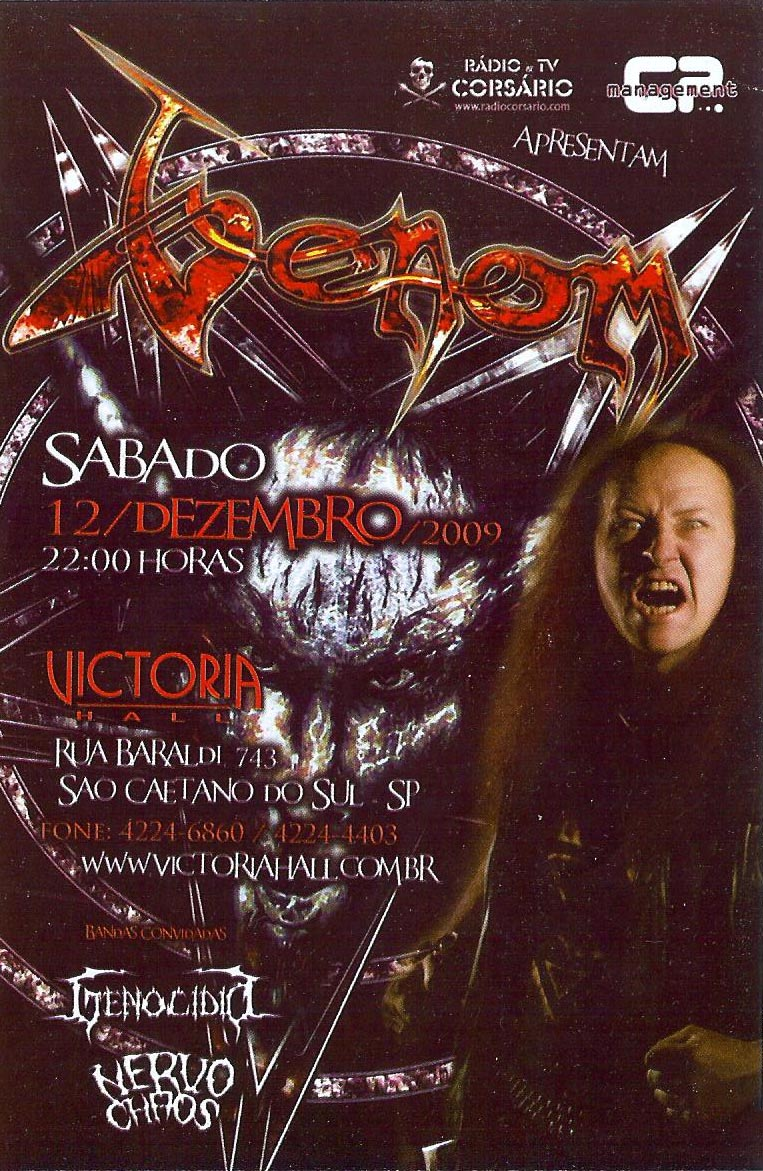 venom black metal flyer brasil tour 2009