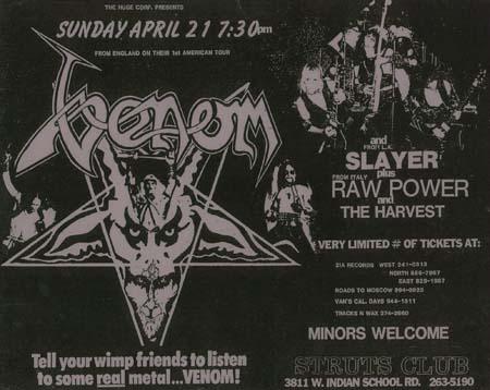 venom black metal 1985 usa concert flyer 21 april