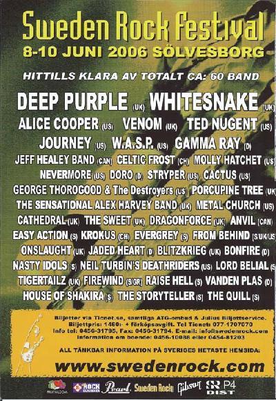Sweden Rock festival 2006 poster