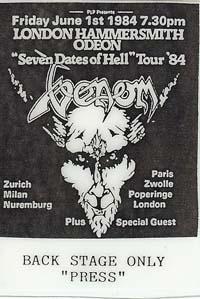 venom seven dates of hell tour 1984