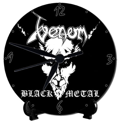 venom black metal collection table clock