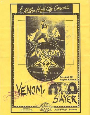 venom concert flyer 1985 USA